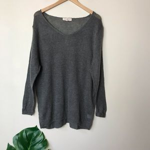 Altar'd State | V Neck Knit Tunic Sweater Grey M